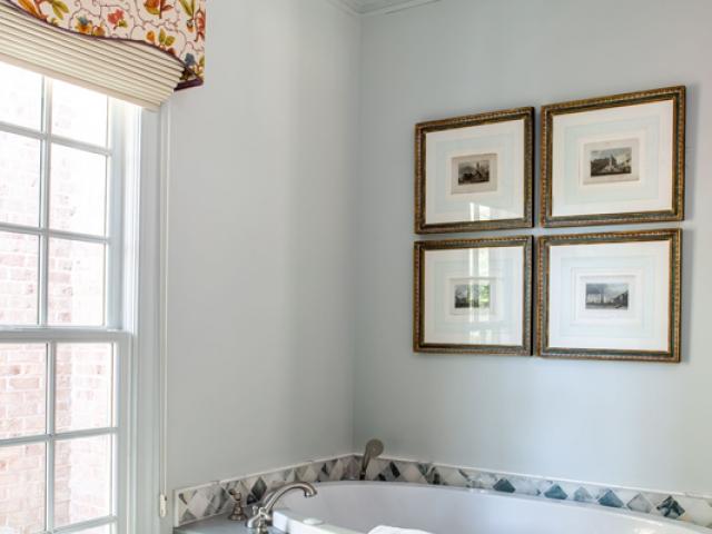 Beretania Circle Residence 5 grey bathroom soaking tub purple crystal chandelier Pebbels Nix Interiors