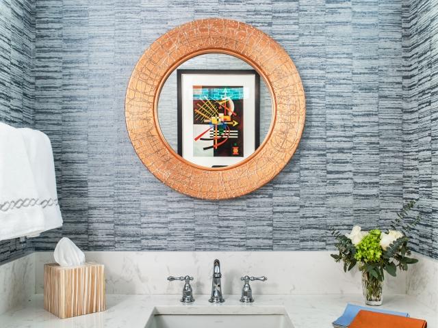 Wimberly Road Residence 2 bathroom vanity round gold mirror Pebbles Nix Interiors