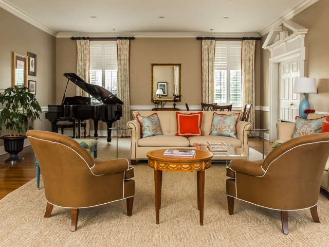 Pi Beta Phi Sorority House 3 tan red light blue living room baby grand Pebbles Nix Interiors