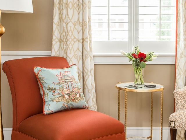 Pi Beta Phi Sorority House 4 sitting area rust chair asia print pillow long drapes Pebbles Nix Interiors