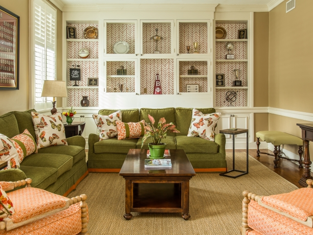 Pi Beta Phi Sorority House 7 family room olive orange butterfly pillows wallpapered builtin shelves Pebbles Nix Interiors